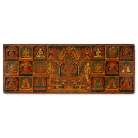 Bookcover inside with Prajnaparamita, Tibet, 13th c., painted wood, BM